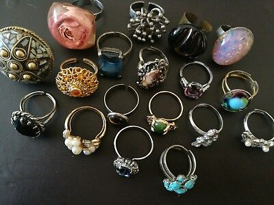 Job Lot Of Vintage Costume Jewellery Rings