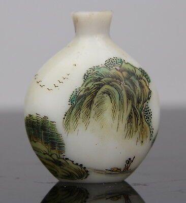 Antique Chinese Peking Glass Painted Snuff Bottle Marked Landscape 19th C. Qing