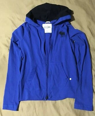 NWT ABERCROMBIE & FITCH muscle kids Blue Hoodie with zipper size L