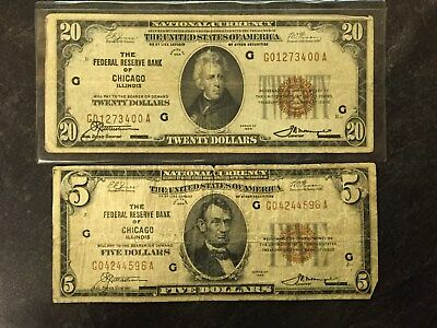 2 1929 United States Chicago Illinois National Currency $5 And $20 Bills