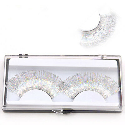Laser Gold Silver Line Exaggerated False Eyelashes White Cross Curl Thick Long
