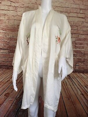 Golden Dragon Kimono Ivory Large 100%silk Hand Embroidered