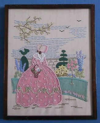 Vintage Crinoline Lady Exquisite Hand Embroidered Linen Picture Frame Pink Dress