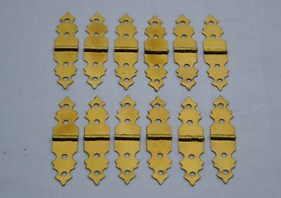Solid Brass Hinges Small Decorative Hardware 12 pcs