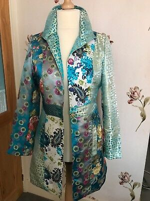 Summer Coat Jacket Multi Colour Blue Gold 12/14 Special Occasion Wedding