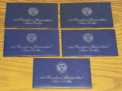 1972 1974 Eisenhower Uncirculated Silver Dollar Lot of 5