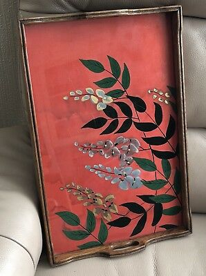1930s Cocktail Tray French Painted Red Silk Glass Wisteria Vintage Bar Serving