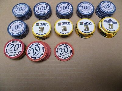1x 61 Stück Keramik Poker Turnier Chips 40mm GPPA DPL 20 + 100 tourney token