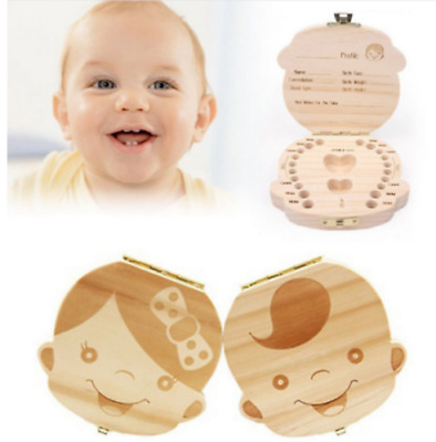 Tooth Box Kids Baby Save Milk Teeth Wood Storage Box For Boy Girl Box