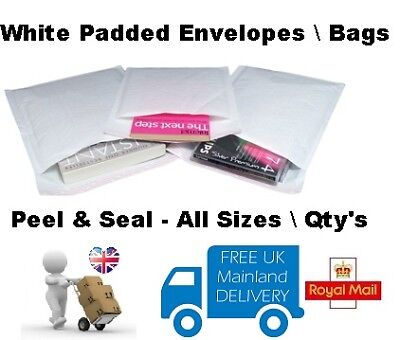 WHITE - QUALITY PADDED BUBBLE ENVELOPES / BAGS - ALL SIZES/QTY'S - Peel & Seal
