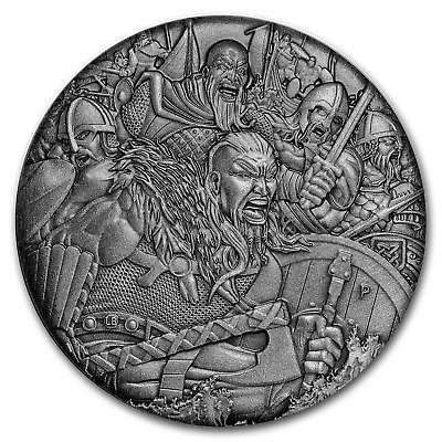 2018 Tuvalu 2 oz Silver Vikings Warfare (HR) - SKU#169697