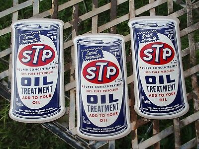"""Lot of three vintage STP decals NOS 1960's? oil treatment sticker, 6"""" by 3"""""""