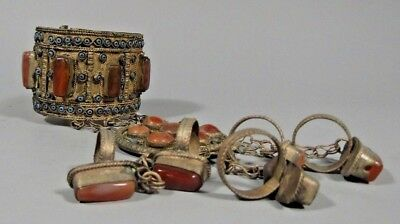 Ottoman or Mughal Empire Silver-plated Jeweled Ladies Bracelet ca. 19th c.