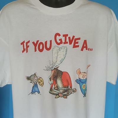 Rare IF YOU GIVE A PIG A PANCAKE Book VINTAGE Tshirt LAURA NUMEROFF Art MOOSE XL