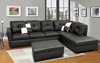 Luxury Faux Leather Living Room Sectional Sofa Set Black Espresso Right Chaise