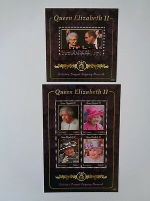 Tanzania 2015 Queen Longest Reigning Monarch Pair Of M/s Mint Mnh