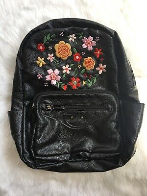Faux Leather Floral Embroidered Backpack Black