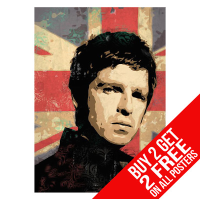 Noel Gallagher Oasis Poster Union Jack Print A4 A3 Size - Buy 2 Get Any 2 Free