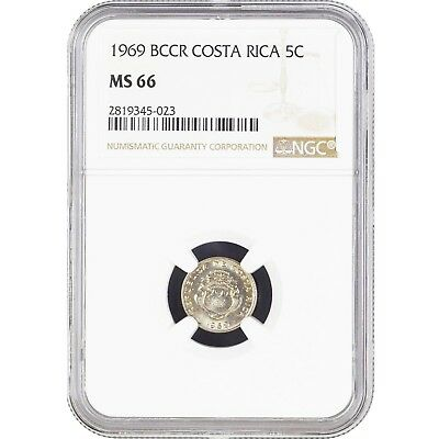 Costa Rica 5 Centimos 1969 BCCR NGC MS 66 KM# 184.2 No Flag on Near Ship