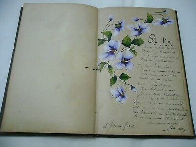 Diario Di Poesie D'amore Amour In Lingua Francese French Con Disegni 1911.