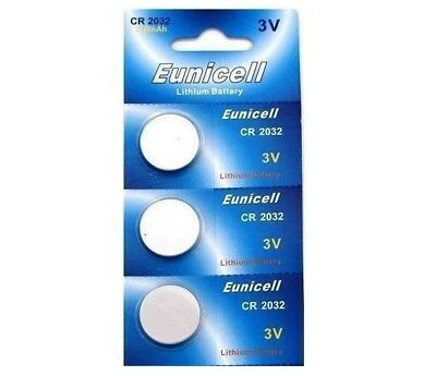 5 X Eunicell Cr2032,dl2032,,kl2032, Br2032 3 Volt Lithium Button/coin Batteries