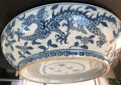 Antique Chinese Six Marked Bowl With Dragon