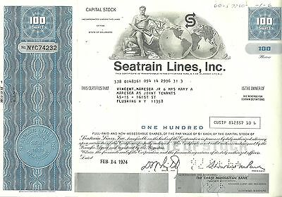 Vintage 1974, cancelled Seatrain Lines Company, Stock Certificate, cool graphics