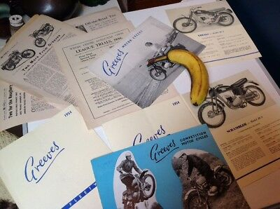 GREEVES MOTOR CYCLE BROCHURE x 4 AND LOTS OF EXTRA LITERATURE COMPETITION BIKES