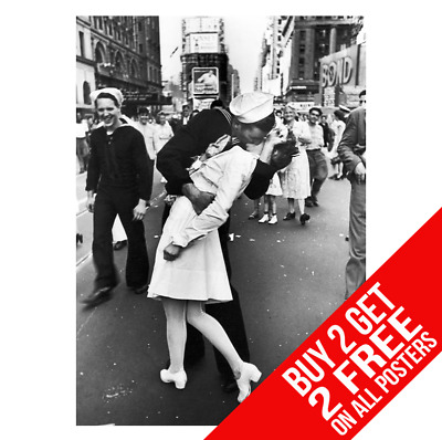 Wwii V-J Day Times Square Kiss Poster Print A4 A3 Size - Buy 2 Get Any 2 Free