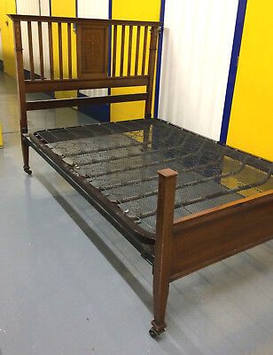 Antique Early Edwardian Mahogany Inlaid Bed Bedstead Stunning Detail Adams Style