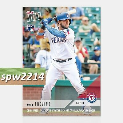 2018 Topps Now Jose Trevino #336 1st Father's Day with Pinch-Hit Walk-Off Single