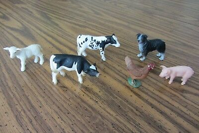 Schleich Farm Animal  Lot of 6 calves, lamb, piglet, hen, sheepdog