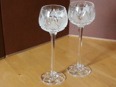 """2 Tyrone Crystal """"SHANNON"""" Hock Glasses - Ex Condition"""