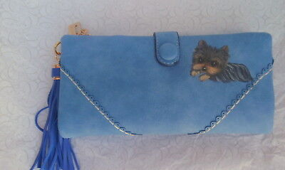 Yorkie hand painted Wallet with tassel
