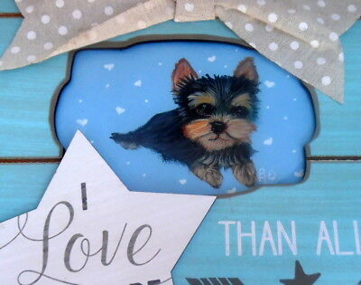 Yorkie hand painted Yorkshire Terrier Wall or stand art