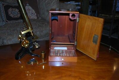 Antique 19th century bar- limb style brass microscope and accessories