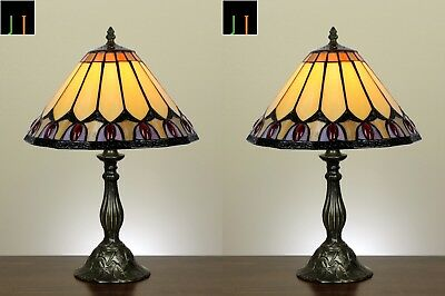 Pair of 2 JT Tiffany Red Diamond Stained Glass Table Lamps Light Home Decor