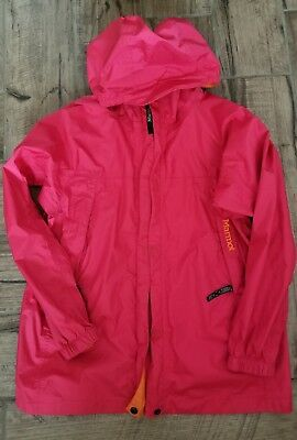 MARMOT Youth Kids XL extra large Rain jacket PINK zip up hooded! Pre-owned.