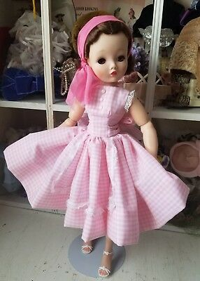 Beautiful Pink gingham apron dress for a Madame Alexander Cissy