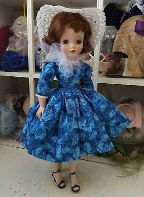 Stunning Blue floral day dress and hat set for a Madame Alexander Cissy