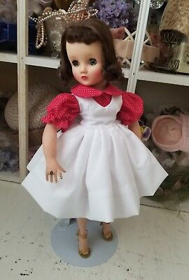 """Charming dotted red blouse and jumper set for a Madame Alexander 16"""" Elise"""