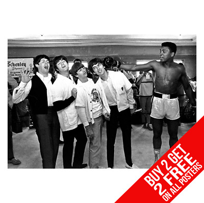 The Beatles Meet Muhammad Ali Boxing Poster  A4 A3 Size - Buy 2 Get Any 2 Free