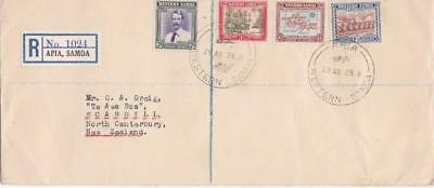 WESTERN SAMOA 1939 REGISTERED  COVER  APIA to NEW ZEALAND