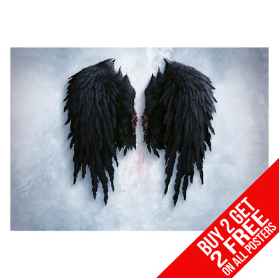 Banksy Black Angel Wings Poster Wall Art Print A4 A3 Size - Buy 2 Get Any 2 Free