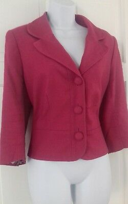 Gorgeous Rose Pink Linen Tailored Jacket Hobbs Size 14