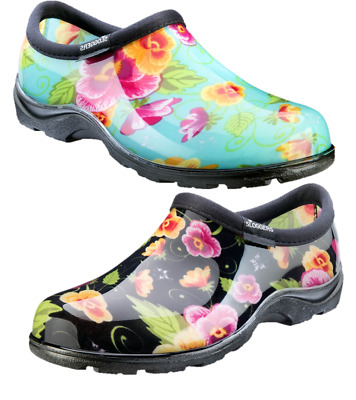 SLOGGERS Womens Waterproof Comfort Shoes - Black, Turquoise Pansy