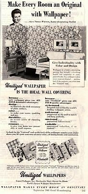 1945 Good Housekeeping Magazine Advertisement Unitized Wallpapers1 Page Ad 324
