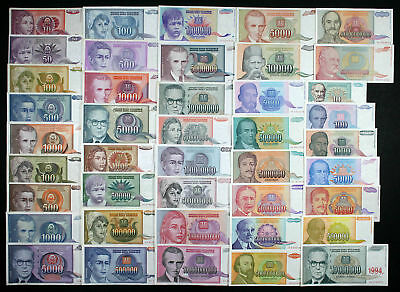 Yugoslavia COMPLETE HYPERINFLATION SET - 42 Banknotes 1990-1994 P103-P144 VF-AU