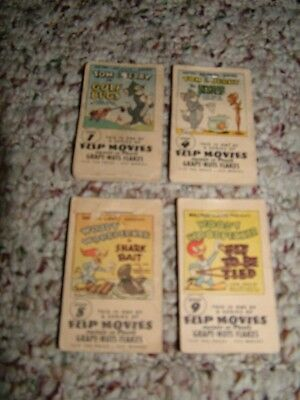 1949 Post's Grape-Nut-Flakes Flip Movies Lot of 4- Book 1, 4, 8, 9