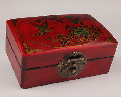Old Red Leather Jewelry Box Flower Bird Dowry Festive Collection